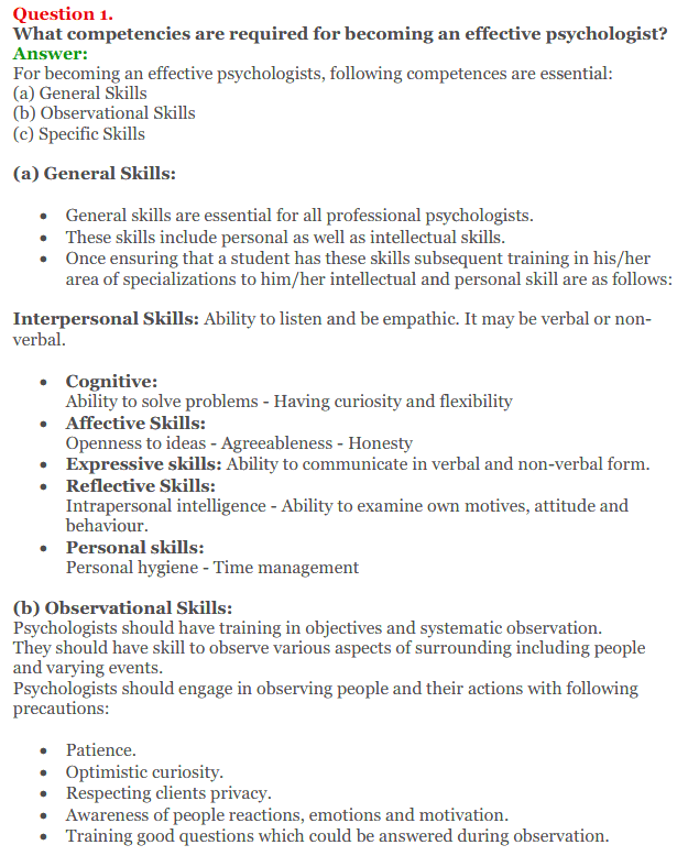 NCERT Solutions for Class 12 Psychology Chapter 9 Developing Psychological Skill 1